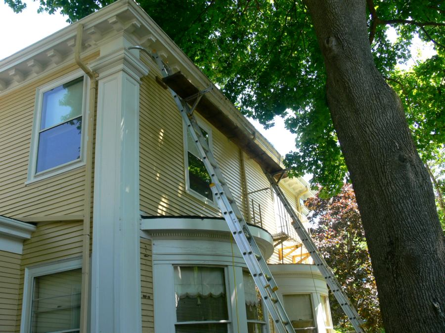 Old Growth Wood Gutter Repair 161 Orchard Street New