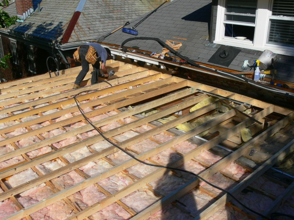 Framing A Flat Roof With Slight Pitch In Preparation For